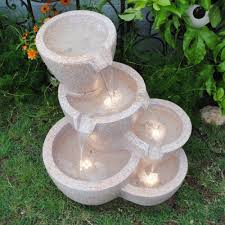 Outdoor Water Fountains With Lights Pots Sandstone Outdoor Indoor Water Fountain With Led Lights