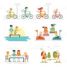 Holidays And Celebrations Family Cartoon Set With Celebrations Holidays And Activities Stock