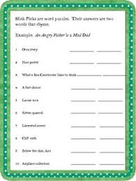 hink pinks st s day word study activities and