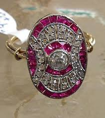 18ct gold french art deco ruby u0026 diamond ring item 997980