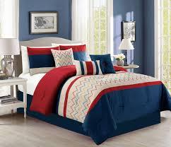 Red King Size Comforter Sets Piece Chevron Navy Red Beige Comforter Set
