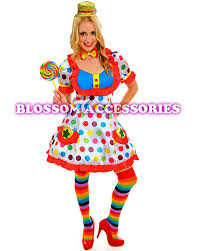 Ladies Clown Halloween Costumes J79 Funny Clown Costume Circus Carnival Fancy Dress Birthday