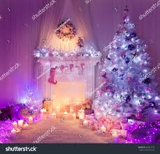 christmas room fireplace tree lights xmas stock photo 334251755