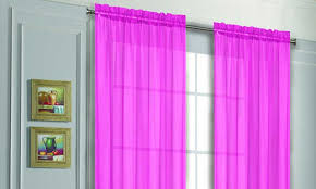 Magenta Curtain Panels One Pair Of Solid Voile Sheer Curtain Panels Groupon