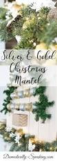 silver and gold christmas mantel domestically speaking