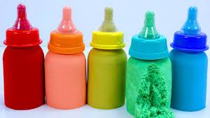 making kinetic sand baby milk bottle diy learn colors nursery