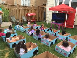 birthday party for kids s drive in birthday party it s daylight so a projector