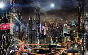 futuro ciudad rascacielos luces noche japón fondos de