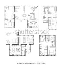 different floor plans set different black white house floor stock vector 740125531