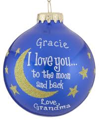 i you to the moon and back gold glitter personalized ornament