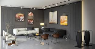 living room wooden panel wall also white puff sofa plus gray puff