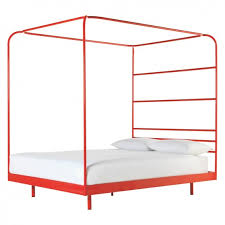 copeland red metal four poster double bed frame 135cm buy now at