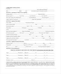 apartment application form printable sample rental lease form