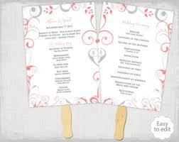 wedding fan templates wedding program fan template scroll navy silver