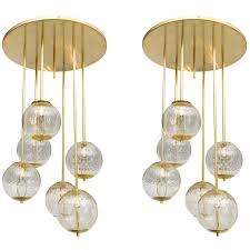 Cascading Glass Bubble Chandelier Large Italian Brass And Glass Bubble Light Fixture At 1stdibs