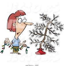 cartoon vector of a unhappy woman decorating scrawny christmas