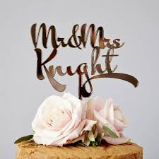 wedding cake toppers personalised calligraphy wedding cake topper by
