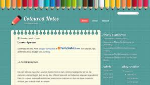 coloured templates coloured notes blogger template btemplates