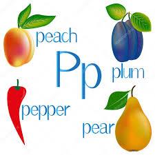 imagenes en ingles con la letra p ilustración para la enseñanza de los niños el alfabeto inglés con