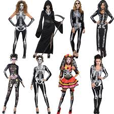 womens halloween skeleton fancy dress costumes ladies dresses