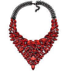 red collar necklace images Women 39 s multi row rhinestone crystal strand bib jpg