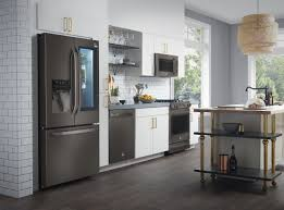 what color cabinets look with black stainless steel appliances black lg adds to the kitchen with black