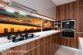 kitchen wallpapers background 38 bridge with orange sky background kitchen wallpaper mural photo