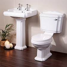Bathroom Sink Set Toilet Basin Sink Set Bathroom Suite White Ceramic Amazon Co Uk
