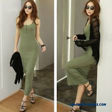 cheap medium long sleeveless women slim thin bottoming dress tight