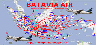Airline Routes Map by Airlines Central Batavia Air Routes Map