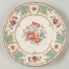 china pattern with turquoise green gold scroll