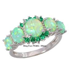 green opal amazon com cinily green fire opal emerald rhodium plated women
