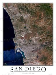 Sea World San Diego Map by San Diego Ca Area Satellite Map Print Aerial Image Poster