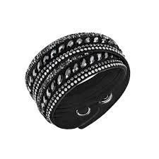 leather bracelet swarovski images Swarovski slake pulse black white crystal leather wrap bracelet jpg