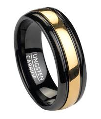 Black Gold Wedding Rings by Black Tungsten Ring With Gold Inlay Theweddingpress Com