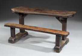 a late 17th early 18th century oak trestle desk with