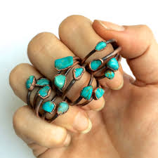 turquoise stone turquoise nugget ring raw turquoise stacking ring