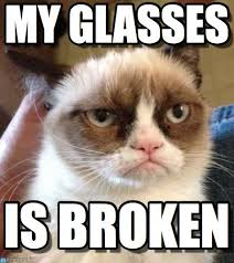 Broken Glasses Meme - my glasses grumpy cat reverse meme on memegen