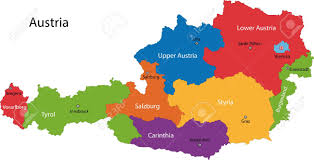 austria map vector colorful austria map with states and cities royalty free