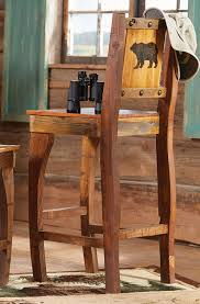 Barnwood Bar Stools Barnwood Barstool W Carved Bear Bar Height