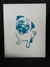 Pug Home Decor This Canvas Intentionally Left Black U2014 Blue Pug Painting On Canvas