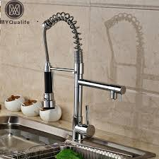 spring pull down kitchen faucet spring pull down kitchen mixer faucet deck mounted dual spout