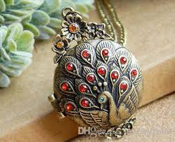 box lockets middle east style pendant necklaces vintage peacock photo box