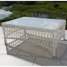 Wicker Patio Coffee Table Everglades White Resin Wicker Patio Coffee Table By Lakeview
