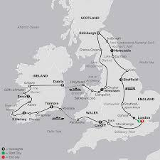 Map Of England And Ireland by England Tours Cosmos British Tours And Vacations