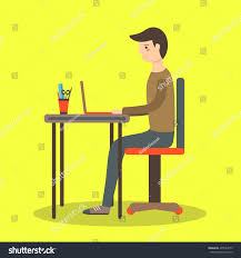 Background With Chair Flat Style Man Sitting On Chair Stock Vector 435584173 Shutterstock