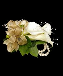 white mini calla wrist corsage with pearls carithers flowers
