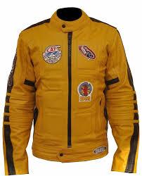 yellow motorcycle jacket kill bill yellow motorcycle leather jackets amazon co uk clothing