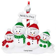 personalized snowman pole family of 4 ornament bronner s