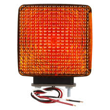 Red Light Fixture by Truck Lite 4742 Signal Stat Red Yellow Square Dual Face Side